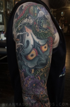 healed hannya/snake/mum coverup on brian, 2015.