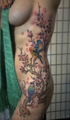 cherry blossoms, birds, branches, 2014. i still love doing stuff like this.