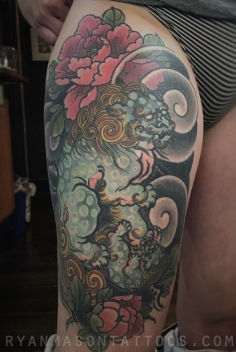 healed foo dog on stephanie. we did this tattoo in one grueling 5 hr session, and then did the other thigh a few days later. steph is a total badass. 2015